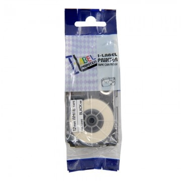 AR12WE COMPATIBLE Label Tape for Casio 12mm Black on White
