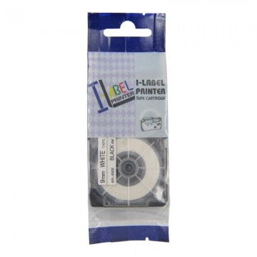 AR9WE  COMPATIBLE Label Tape for Casio 9mm Black on White